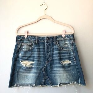 American Eagle New Distressed Denim Mini Skirt.